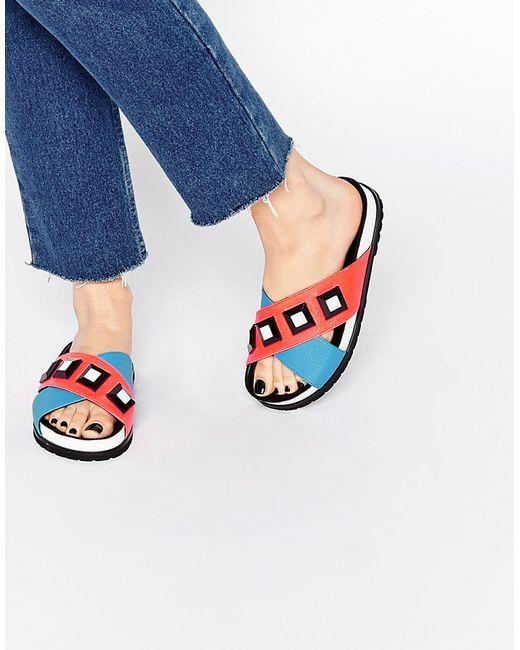 Kat Maconie Fifi Blue Amp Red Gem Slider Flat Sandals In