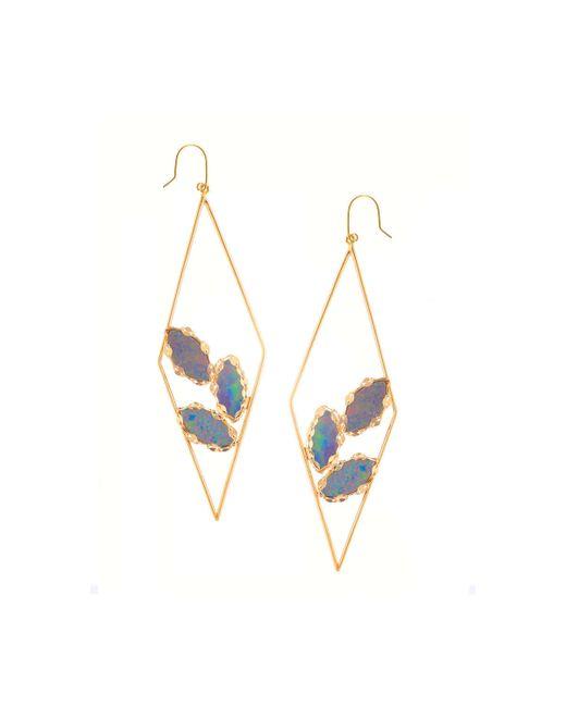 Lana Jewelry | Metallic 14k Yellow Gold Geometric Opal Hoop Drop Earrings | Lyst