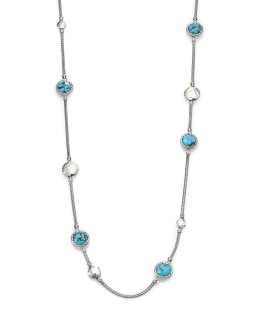 John Hardy | Metallic Palu Turquoise & Sterling Silver Matrix Sautior Necklace | Lyst
