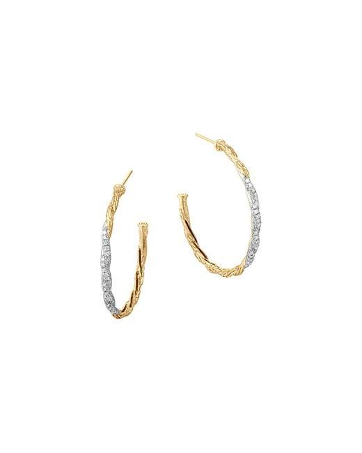 John Hardy | White Classic Chain 18k Gold Diamond Pave Medium Hoop Earrings | Lyst