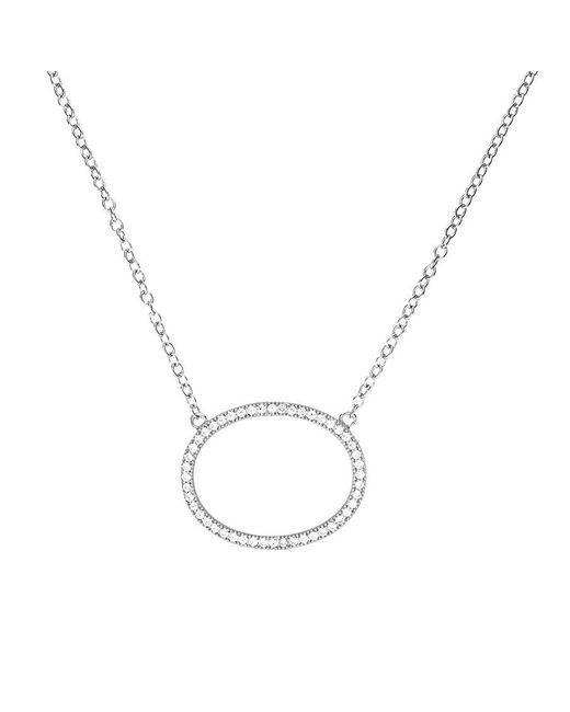 Azendi | Metallic Pavé Open Oval Necklace | Lyst
