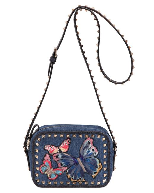 Valentino butterfly embroidered denim camera bag in