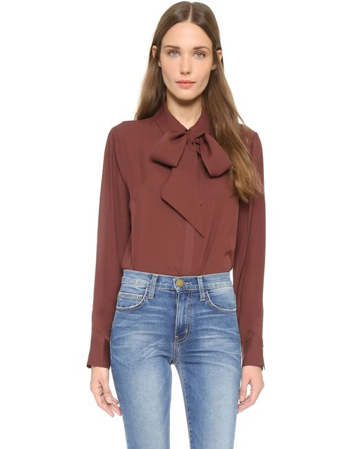 FRAME | Brown Le Bow Tie Shirt - Gardena | Lyst
