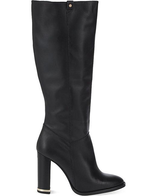kurt geiger dane leather knee high boots in black lyst