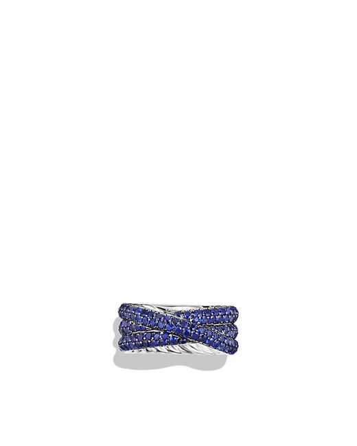 David Yurman | Blue Crossover Ring With Sapphires In 18k White Gold | Lyst