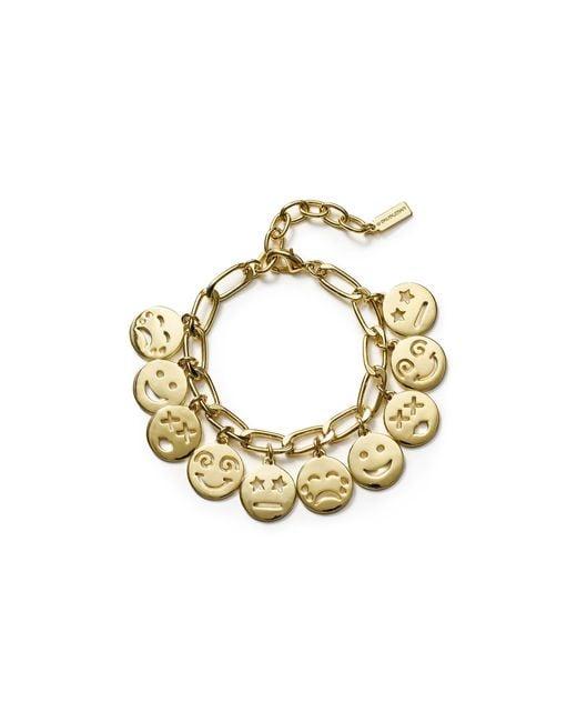 Baublebar Smiley Charm Bracelet In Gold Lyst