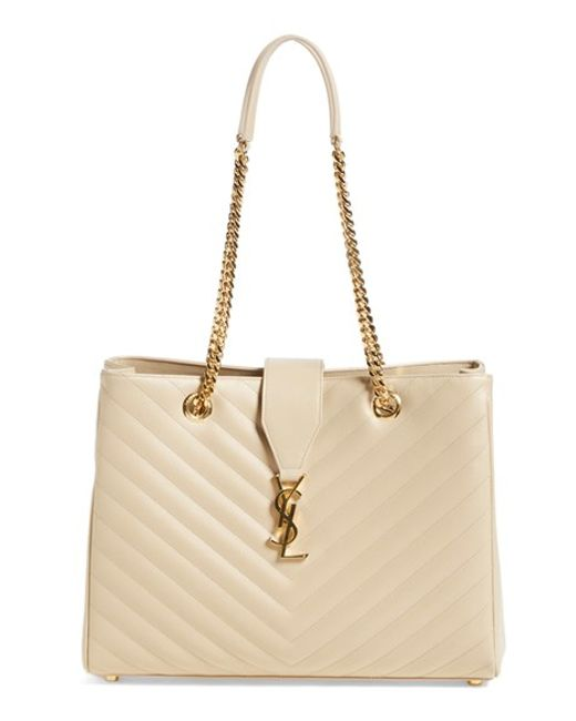 Saint Laurent | Natural 'monogram' Grained Leather Shopper | Lyst