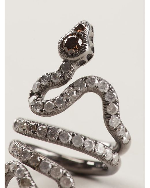Loree Rodkin | Metallic Gold And Diamond Pavé Coiled Snake Pinky Ring | Lyst