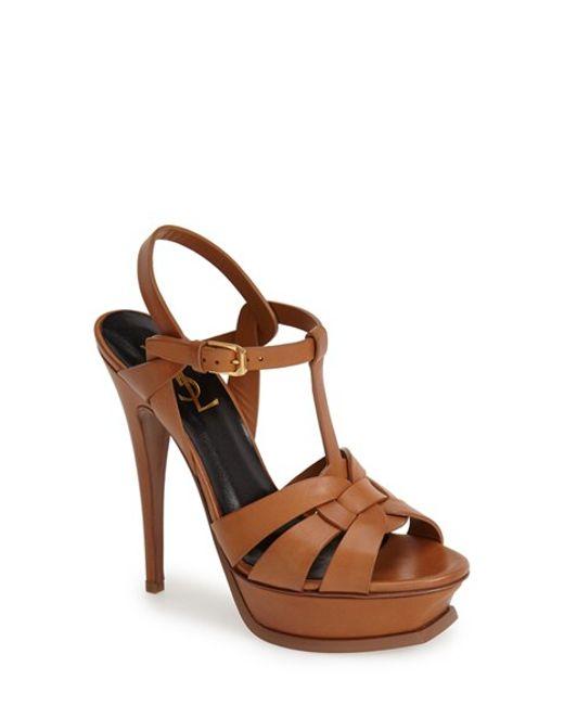 Saint Laurent   Brown Tribute Leather Sandals   Lyst