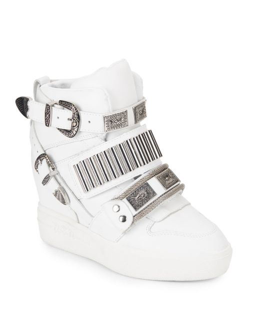 Ash | White Amazing Leather Wedge Sneaker | Lyst