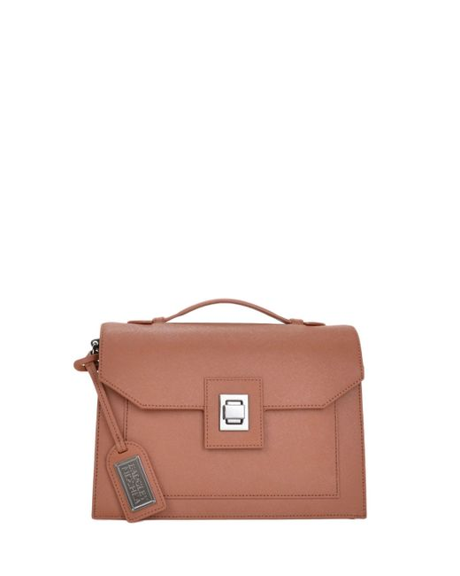 Badgley Mischka | Brown Jean Saffiano Handbag | Lyst