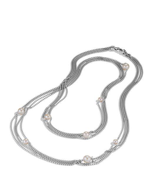 David Yurman   Metallic Four-row Chain Necklace With Pearls   Lyst
