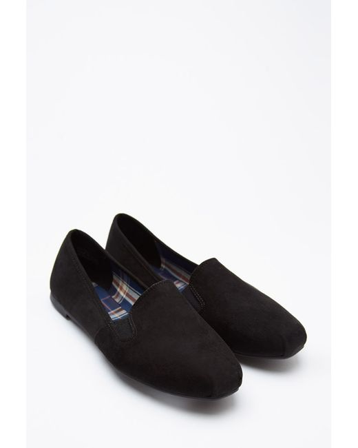 Forever 21 | Black Faux Suede Loafers | Lyst