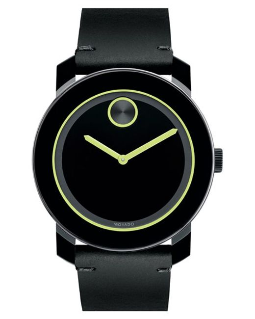 movado bold leather strap watch in black for men black