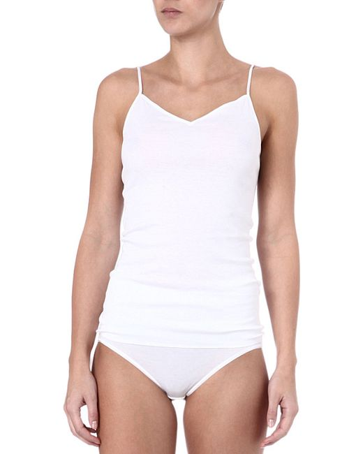 Hanro | White Seamless Cotton Camisole | Lyst