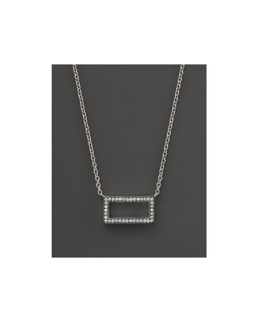 Ippolita | Metallic Sterling Silver Stella Rectangular Diamond Pendant Necklace, 16"