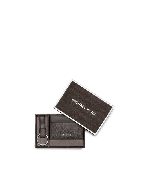 Michael Kors | Gray Leather Card Case And Key Fob Set for Men | Lyst