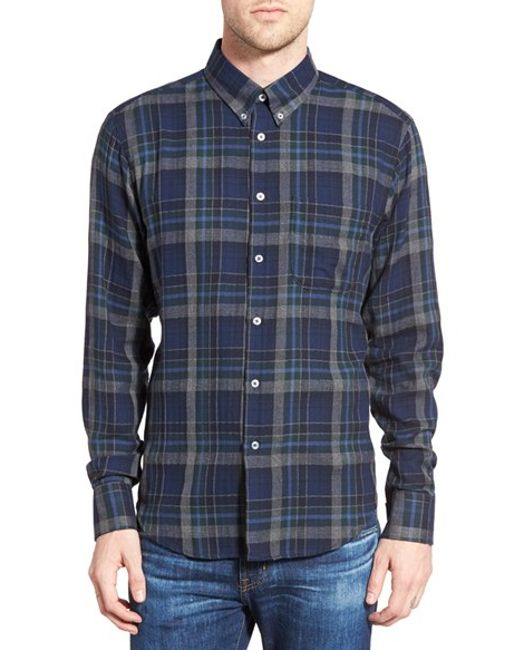 Naked famous trim fit herringbone check flannel shirt in for Trim fit flannel shirts