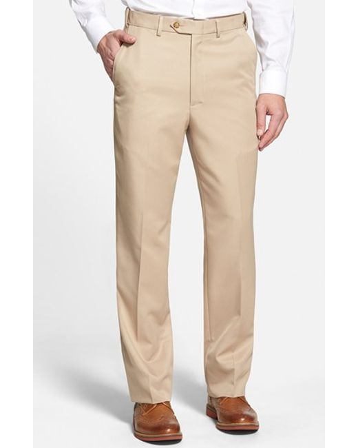 Berle | Natural Self Sizer Waist Flat Front Trousers for Men | Lyst