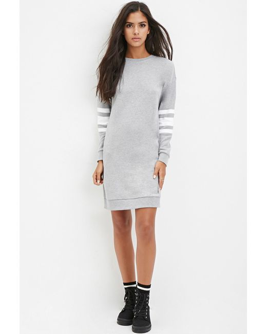 Forever 21 | Gray Varsity-striped Sweatshirt Dress | Lyst