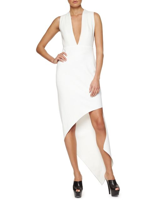 Narciso Rodriguez | White Plunging Asymmetric Crepe Dress | Lyst