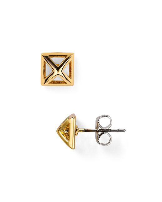 Rebecca Minkoff | Metallic Pyramid Cut-out Stud Earrings | Lyst