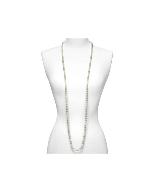 Majorica | Women's 8mm Round White Simulated Pearl Endless Necklace, 60"