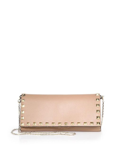 Valentino | Natural Rockstud Leather Chain Wallet | Lyst