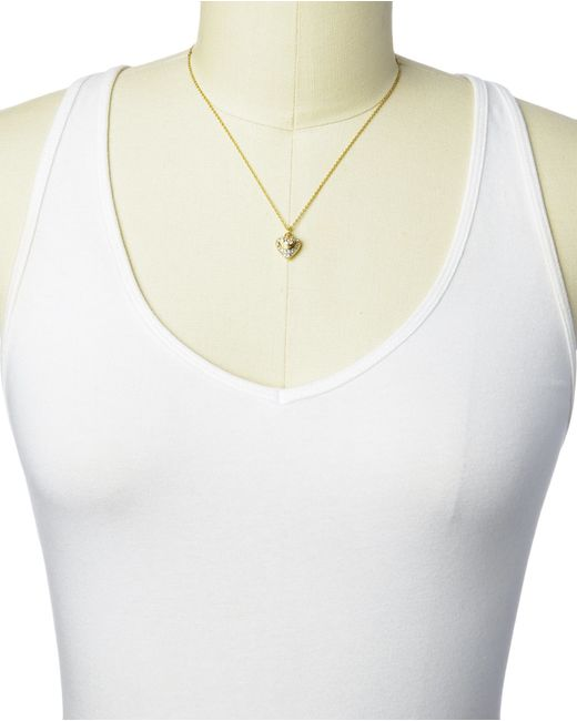 Juicy Couture | Metallic Pave Heart Necklace | Lyst