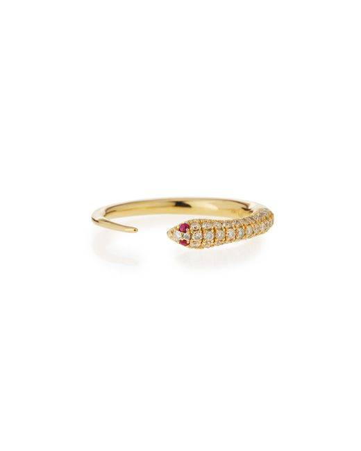 Sydney Evan   Metallic 14k Pave Diamond Skinny Snake Ring   Lyst