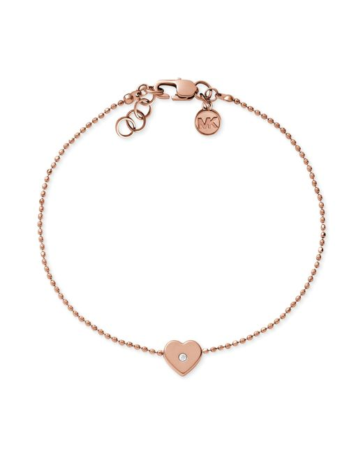 Michael Kors | Pink Faceted Gold Tone Lock Beaded Bracelet | Lyst