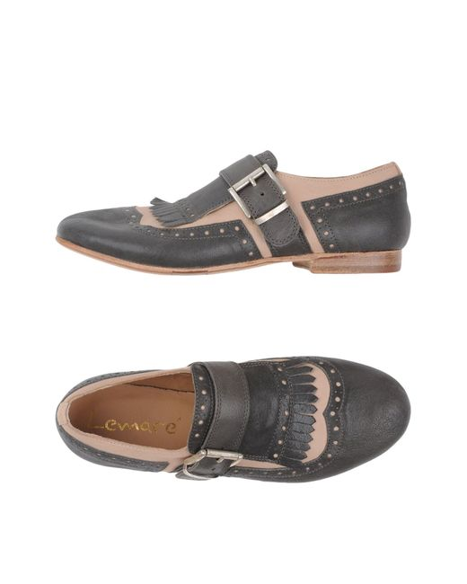 Lemarè | Gray Fringed Leather Moccasins | Lyst
