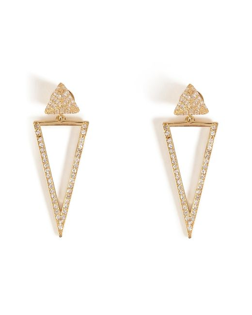 Ileana Makri | Metallic 18kt Gold Bermuda Triangle Earrings With Diamonds | Lyst