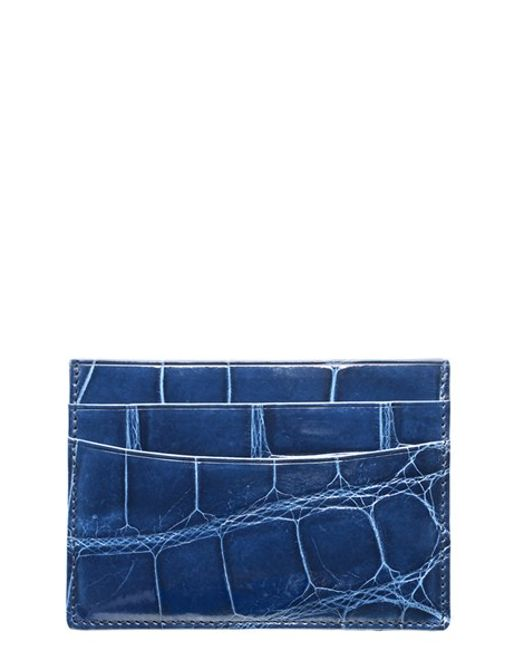 Trafalgar | Blue Genuine Alligator Leather Card Case | Lyst