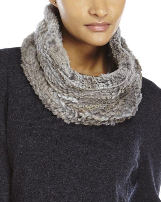 Adrienne Landau | Gray Knit Goma Fur Cowl Scarf | Lyst