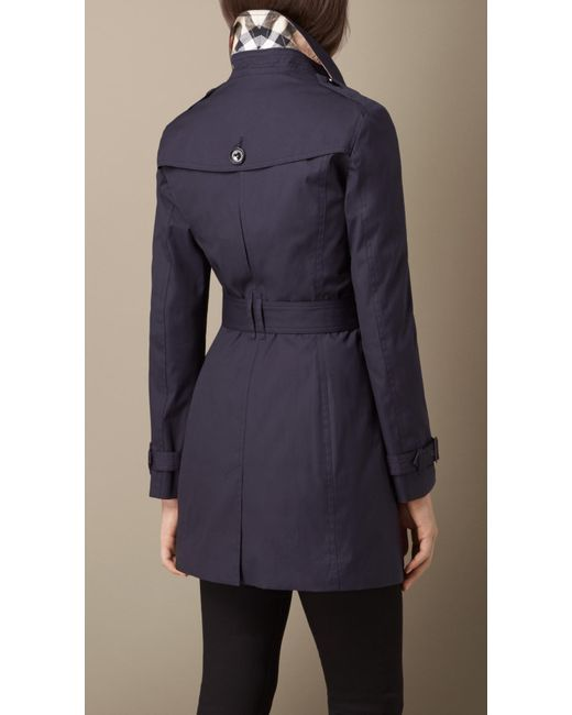 Burberry Hooded Trench Coat With Warmer Navy In Blue Navy