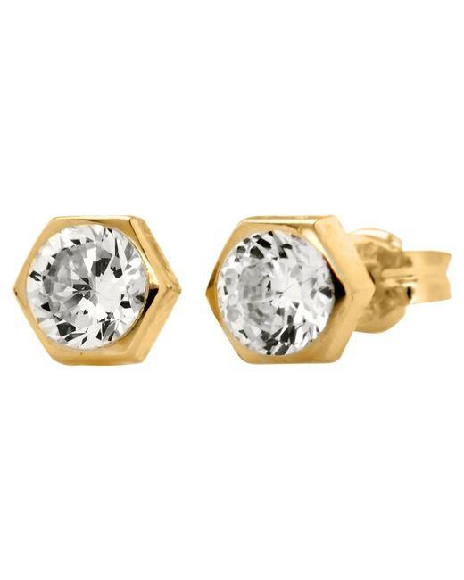 Ib&b | Metallic 9ct Gold Hexagonal Cubic Zirconia Stud Earrings | Lyst
