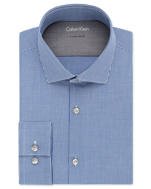 Calvin klein x extra slim fit stretch blue gingham dress for Extra slim dress shirt