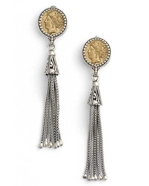 Konstantino | Silver Coin Tassel Drop Earrings | Lyst