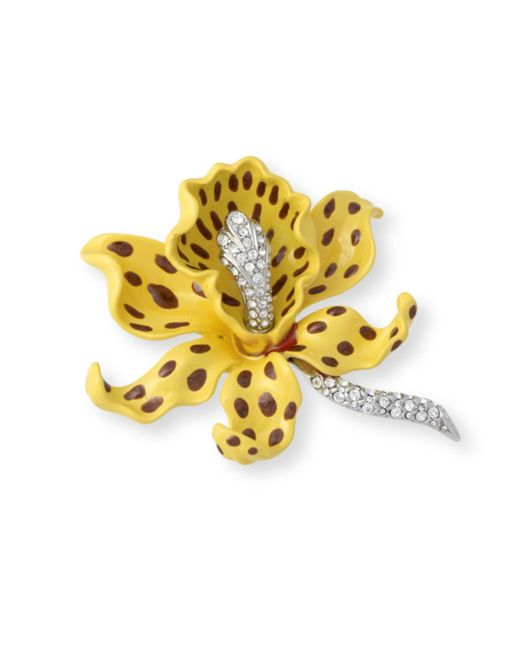 Kenneth Jay Lane | Yellow Orchid Brooch | Lyst