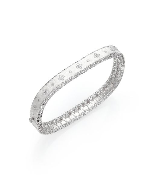 Roberto Coin | Princess Diamond & 18k White Gold Bangle Bracelet | Lyst