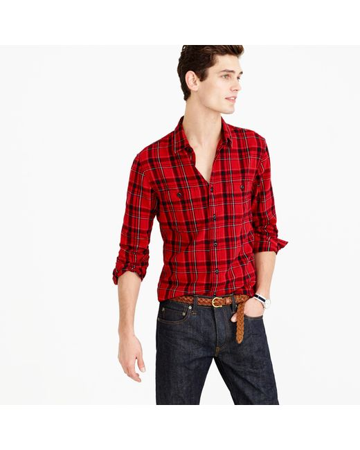 Midweight flannel shirt in holiday red plaid in red for Womens christmas flannel shirt