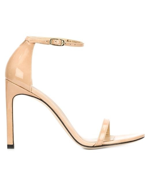 Stuart Weitzman | Natural 'nudist Song' Ankle Strap Patent Leather Sandals | Lyst