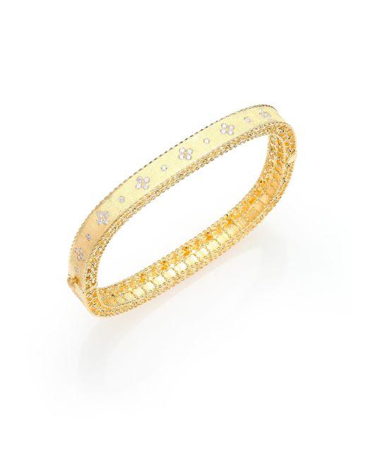 Roberto Coin | Metallic Princess Diamond & 18k Yellow Gold Bangle Bracelet | Lyst
