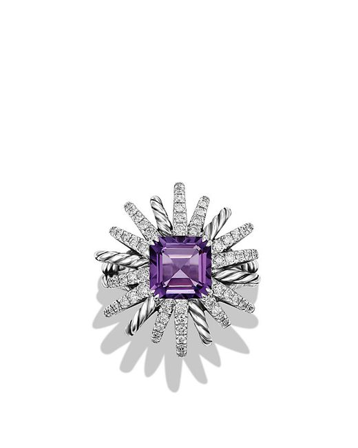 David Yurman | Metallic Starburst Ring With Diamonds And Amethyst In Silver, 23mm | Lyst