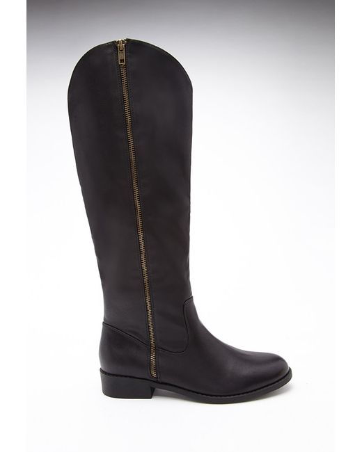 Forever 21   Black Zippered Faux Leather Boots   Lyst