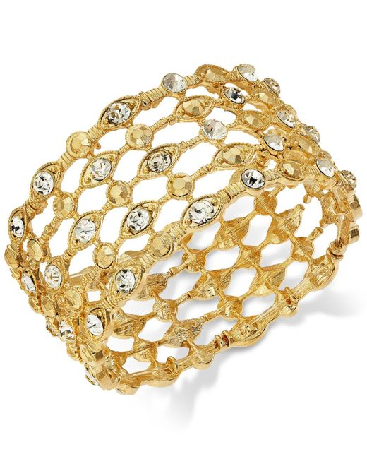 INC International Concepts | Metallic Gold-tone Crystal Grid Stretch Bracelet | Lyst