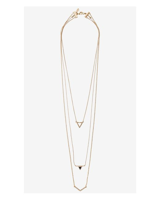 Express | Metallic Nested Triangle Necklace | Lyst