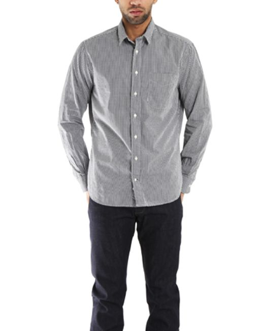 Blue Cream Grey Macro Check Gingham Button Down Shirt In