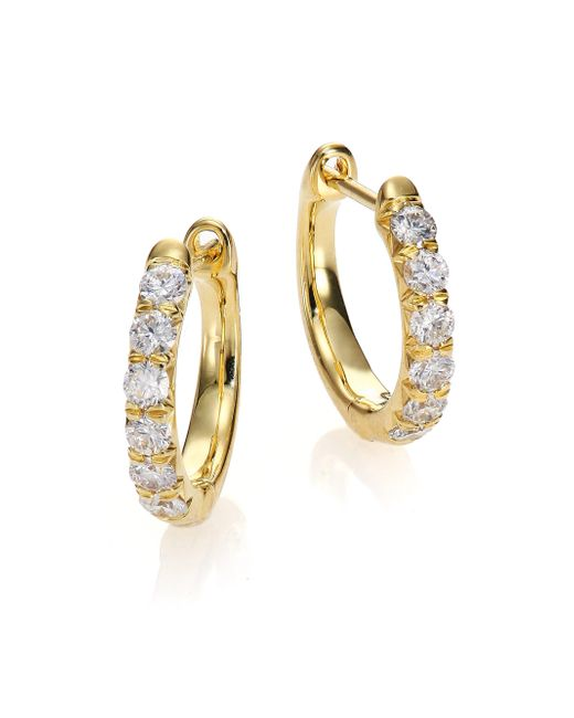 Jude Frances | Metallic Jude Diamond & 18k Yellow Gold Huggie Hoop Earrings/0.5 | Lyst